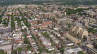 WS AERIAL View of urban residential area / Washington, Dist. of Columbia, United States