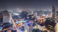 T/L WS HA ZO View of Urban Skyline at Night / Bangkok, Thailand
