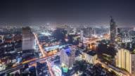 T/L WS HA View of Urban Skyline at Night / Bangkok, Thailand