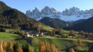 WS View of Val di Funes, St. Magdalena and Geissler Mountains / South Tyrol, Alto Adige, Italy