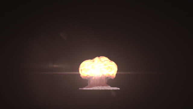 WS View of very large nuclear explosion, showing mushroom cloud of smoke, fire with initial lens flare on keyable backdrop / Montreal, Quebec, Canada
