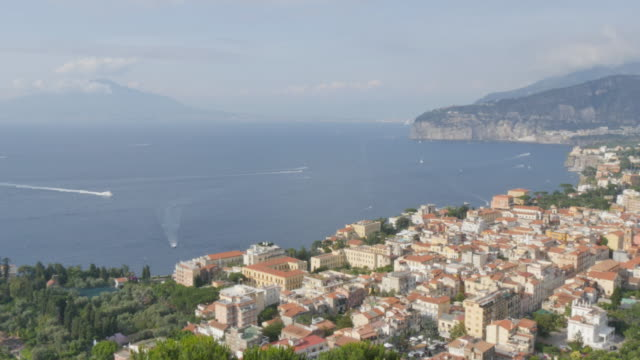 View of Vesuvius and Tyrrhenian Sea from Sorrento, Costiera Amalfitana (Amalfi Coast), UNESCO World Heritage Site, Campania, Italy, Europe