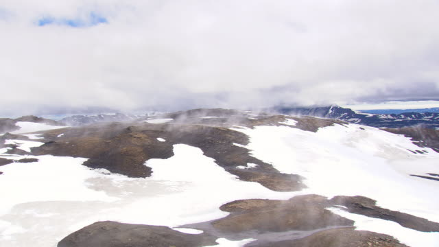 WS AERIAL View of View of snowy mountain at Askja Caldera / Iceland
