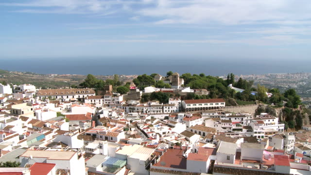 WS ZO View of village Mijas / Costa del Sol, Andalusia, Spain