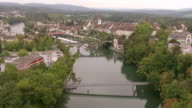 WS AERIAL View of village of Bremgarten with old town and witch tower and reuss river / Wadenswil, Zurich, Switzerland