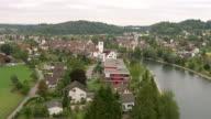 WS AERIAL View of village of Mellingen at reuss river / Wadenswil, Zurich, Switzerland