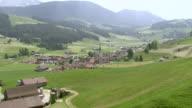 WS AERIAL View of village with church in center / Gonten, Appenzell Innerrhoden, Switzerland
