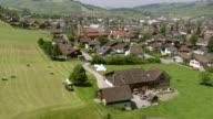 WS AERIAL View of village with mountains / Appenzell, Appenzell Innerrhoden, Switzerland