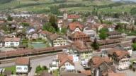 WS AERIAL View of village with train station / Appenzell, Appenzell Innerrhoden, Switzerland