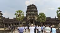 WS T/L View of visitors at temple / Angkor Wat, Siem Reap, Cambodia