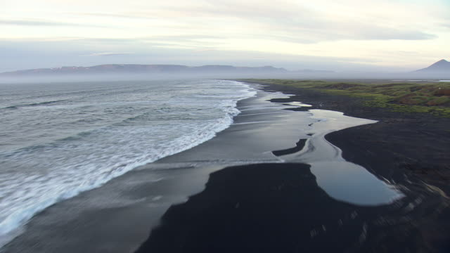 WS AERIAL View of Volcanic beach / Iceland