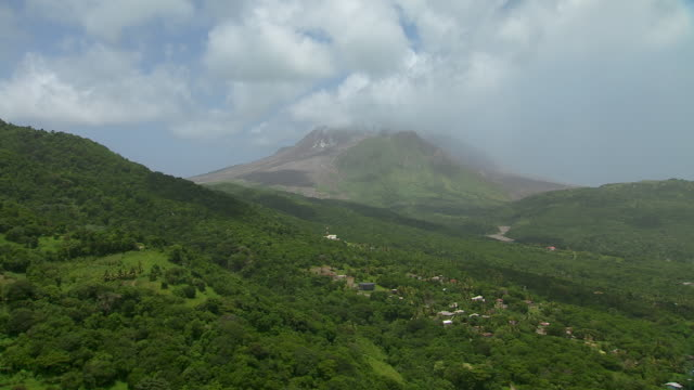 View of volcanoes from Montserrat village.