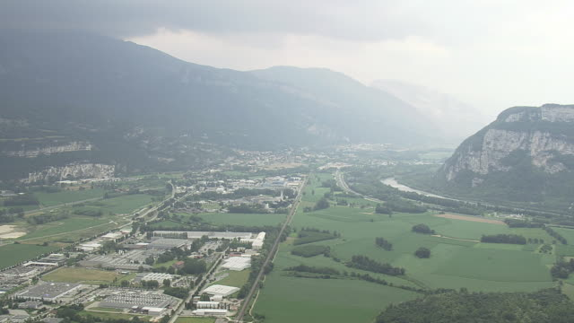 WS AERIAL View of Voreppe Towards Grenoble / Rhone Alpes, France