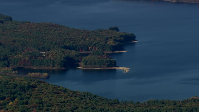 WS AERIAL View of Wachusett Reservoir and city / Massachusetts, United States