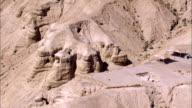 WS AERIAL POV ZI View of  wadi desert / Almog,  Norrn Judea Desert, Israel
