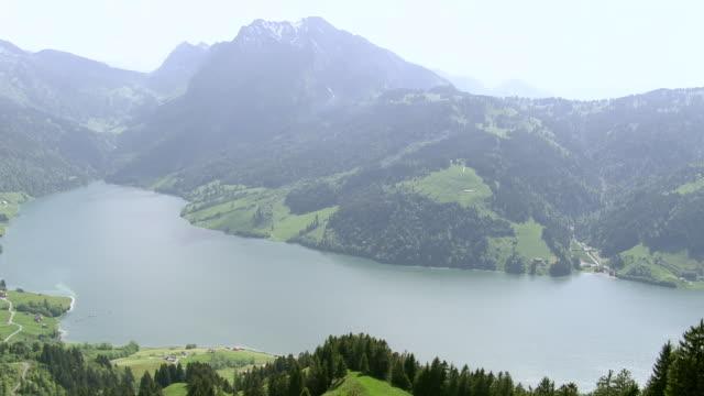 WS AERIAL View of wagital Valley and Lake Wagital with Fluebrig and Gross Aubrig / Wagital Valley, Schwyz, Switzerland