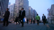 View of walking people nearby Yeouido business district
