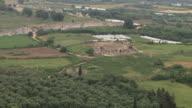 WS AERIAL View of walls of ancient city  Nicopolis Actia Nicopolis / Epirus, Greece