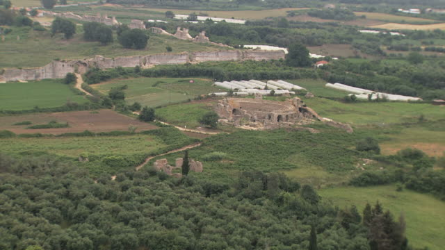 WS AERIAL View of walls of ancient city  Nicopolis Actia Nicopolis / Epirus, Greece