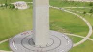 WS TU AERIAL POV View of Washington Monument on National Mall / Washington DC, United States