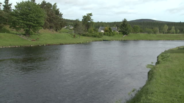 WS View of water flowing on river / Cromdale, Speyside, Scotland