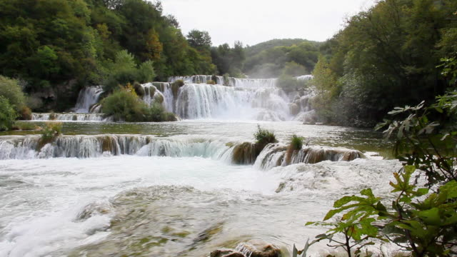 MS PAN View of Waterfall at Krka National Park from water level / Knin, Sibenik-Knin County, Croatia