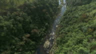 MS AERIAL TD TU View of waterfall / Mpumalanga, South Africa
