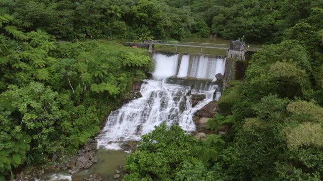 WS AERIAL POV View of waterfall / Naguabo, Puerto Rico, United States