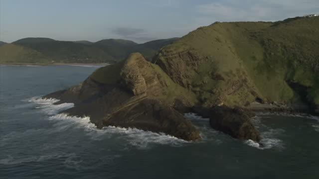 WS AERIAL View of Waves breaking on shore / Eastern Cape, South Africa