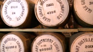 MS PAN View of whisky casks in warehouse / Rothes, Speyside, Scotland