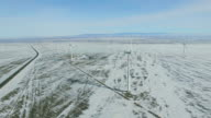 WS AERIAL View of Wind turbines in winter,Xinjiang,China.