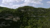 WS AERIAL POV View of Window Cave on top of cliff / Cueva Ventana, Arecibo, Puerto Rico, United States