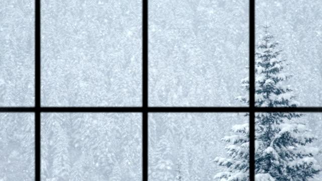 Blick auf winter durch Fenster, Endlos wiederholbar