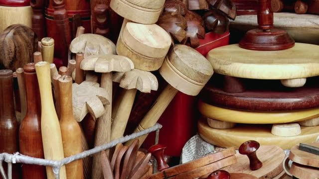 CU ZO View of wooden articles in market stall / Haridwar, Uttarakhand, India