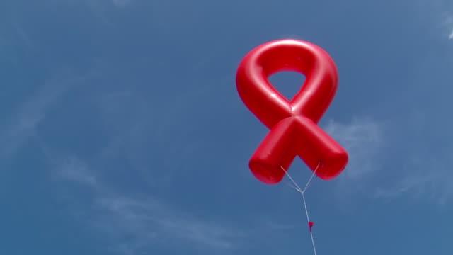 MS View of world aids day ribbon balloon / Johannesburg, Gauteng, South Africa