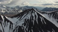 WS AERIAL View of Wrangell Mountains with snow / Alaska, United States