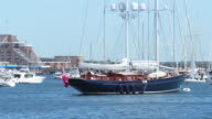 MS View of yacht in harbor / Newport, Rhode Island, United States