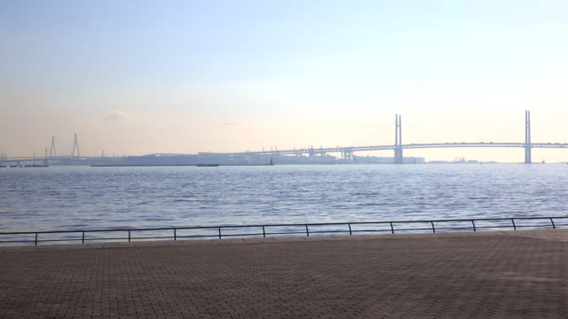 Vista di Yokohama Baia Ponte parete