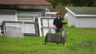 WS SLO MO TS View of Young man wheels plants out at farm / Chatham, Michigan, United States