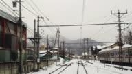 WS POV View of Yukemuri Limited Express of Nagano Dentetsu Line on the Rail / Yudanaka, Nagano, Japan