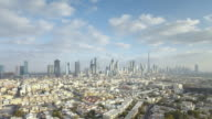 WS AERIAL POV T/L View ofof city with modern architecture and skyscrappers including  Burj Khalifa on Sheikh Zayed Road  / Dubai,United Arab Emirates