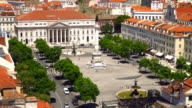 View on lisbon rossio square from santa justa elevator