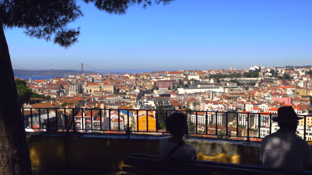 View on lisbon with 25 de abril bridge and lisbon city center in the frame.