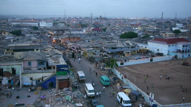 view over accra, ghana at sunset