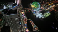 WS T/L HA View over amusement park, harbor and busy streets in Yokohama at night / Tokyo, Japan