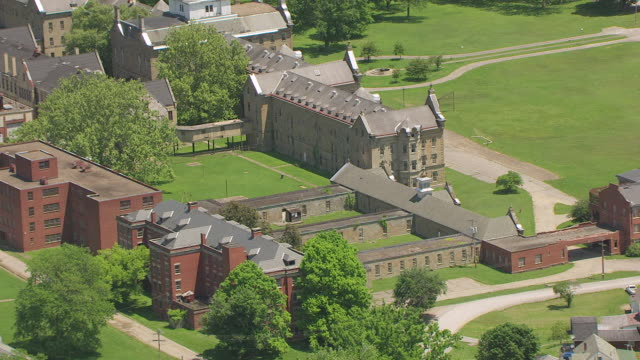 WS AERIAL View over asylum at Trans Allegheny Lunatic Asylum in Lewis County / Weston, West Virginia, United States