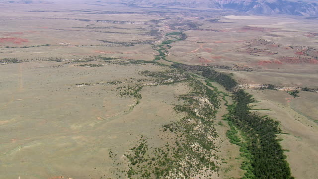 WS AERIAL View over badlands / Montana, United States