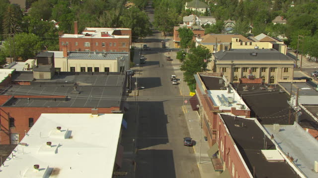 WS AERIAL View over business buildings / Livingston, Montana, United States