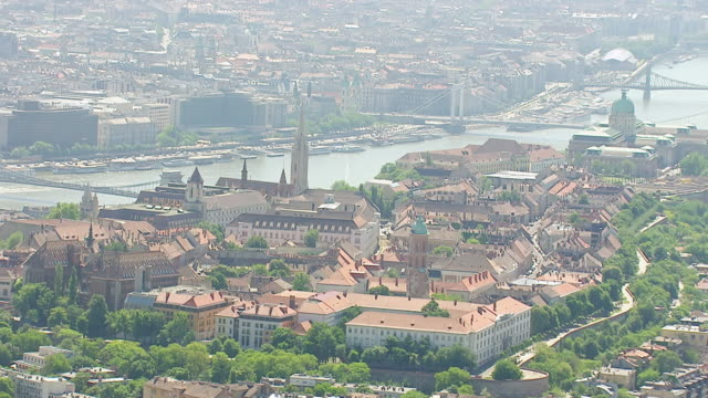 WS AERIAL View over Capital and largest city with several sights / Budapest, Hungary