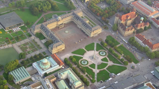 WS AERIAL DS ZI View over castle square with fountains and gardens / Stuttgart, Baden Wurttemberg
